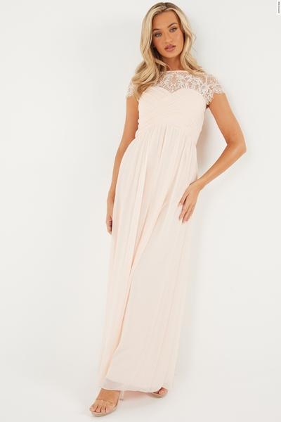 Nude Lace Sweetheart Maxi Dress